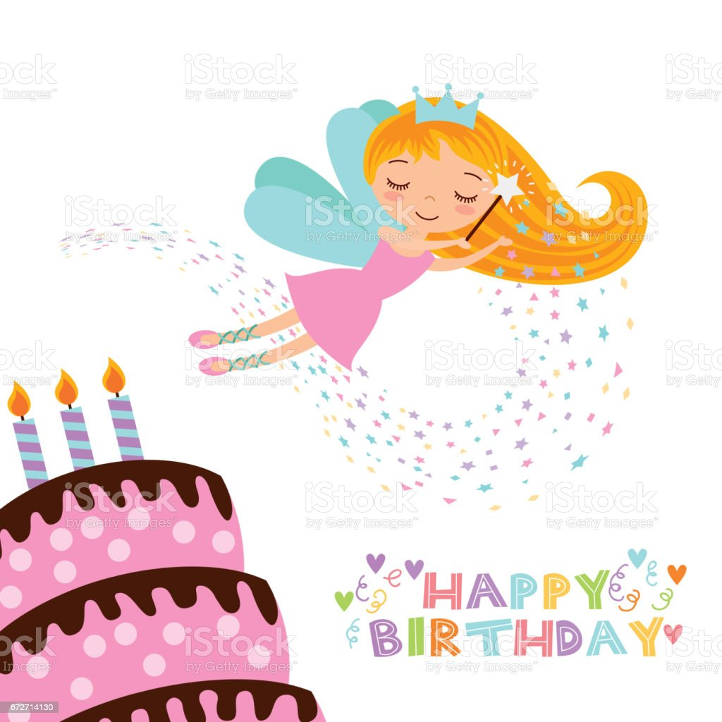 Fairy Birthday Card stock vector art 672714130 – How to Sign a Birthday Card