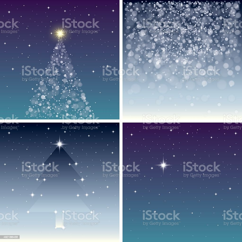 Fairy Christmas backgrounds set vector art illustration