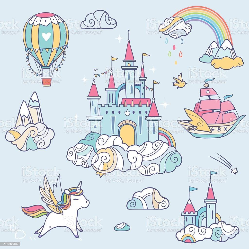 Fairy cloud castle set vector art illustration