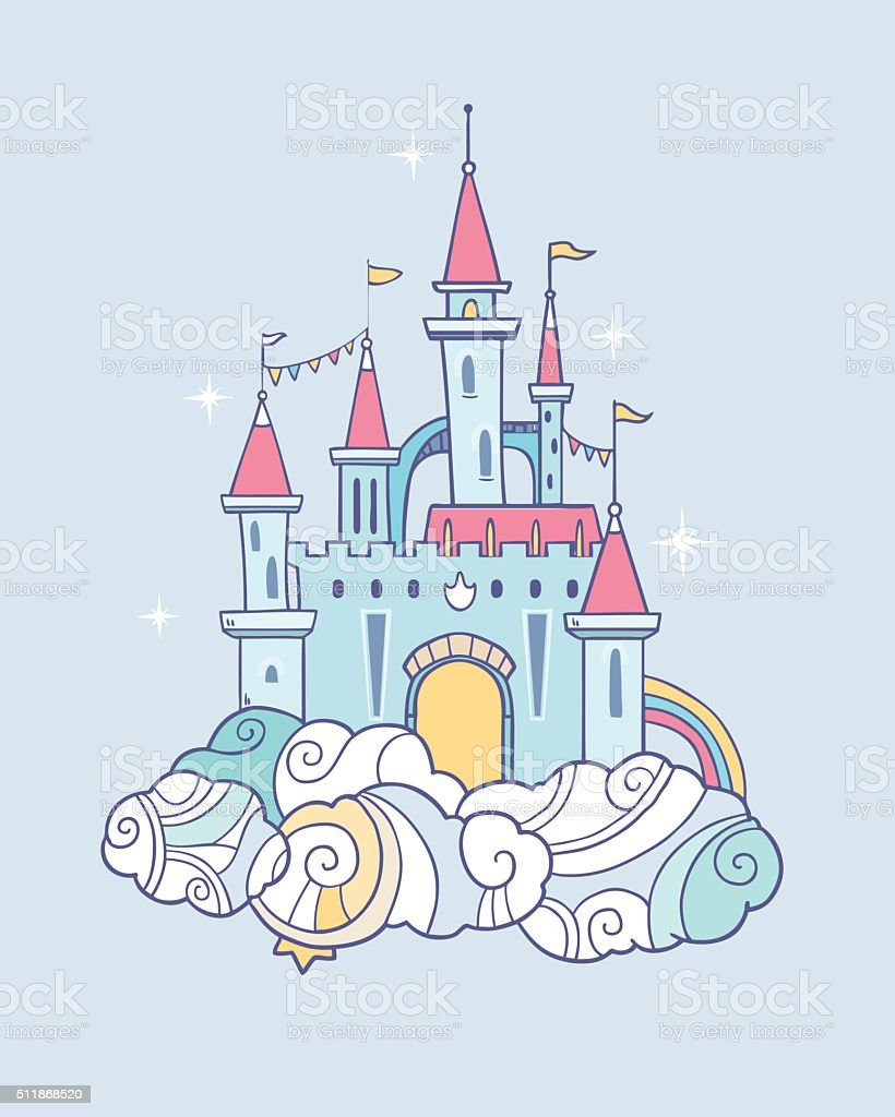 Fairy cloud castle vector art illustration