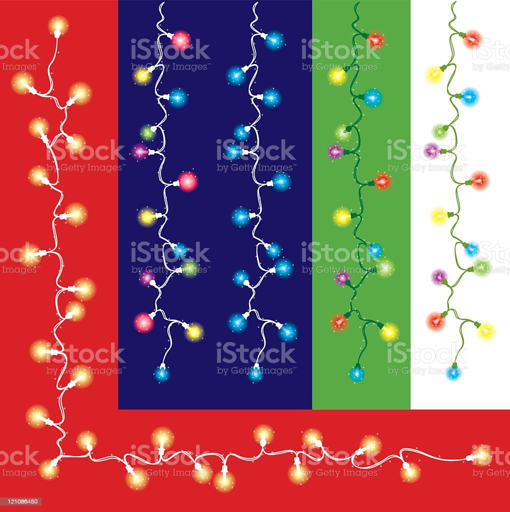 Fairy Lights on different coloured backgrounds royalty-free stock vector art