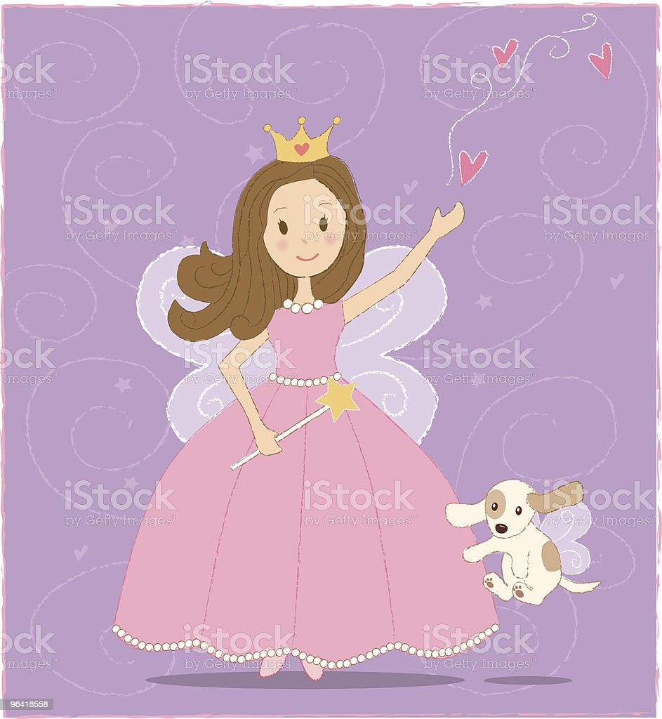 Fairy Princess and doggie royalty-free stock vector art