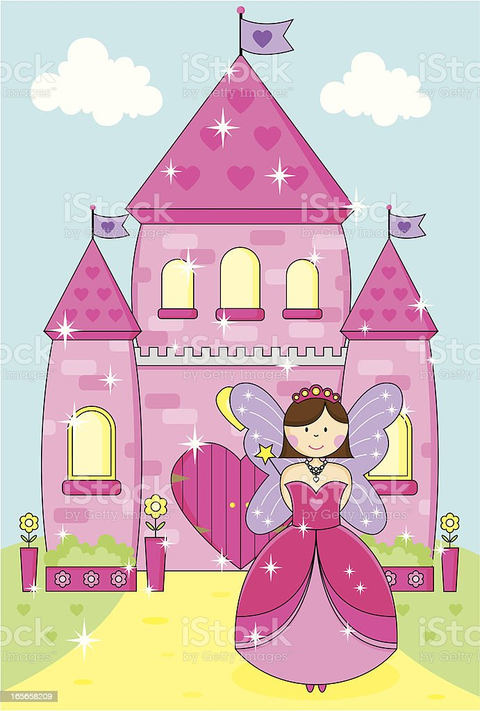 Fairy Princess With Wand and Sparkly Pink Enchanted Palace. royalty-free stock vector art