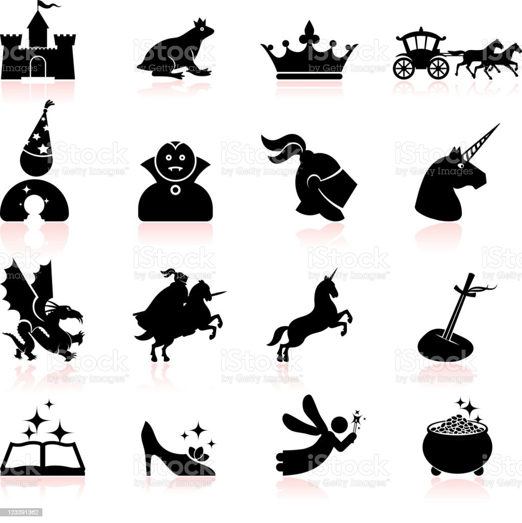 Fairy tale black and white royalty free vector icon set vector art illustration