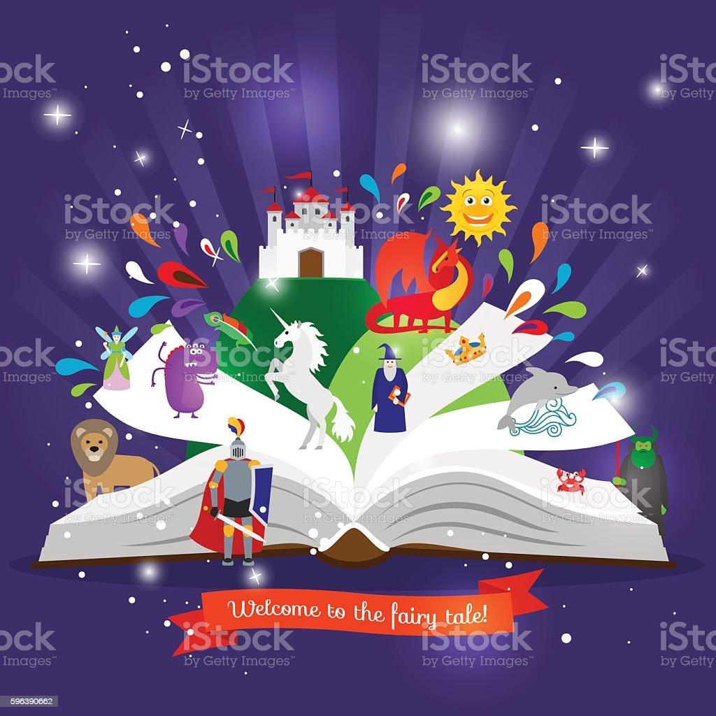 Fairy tale book vector art illustration