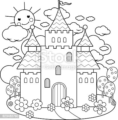 fairy tale castle and flowers coloring page stock vector art 623483760 istock