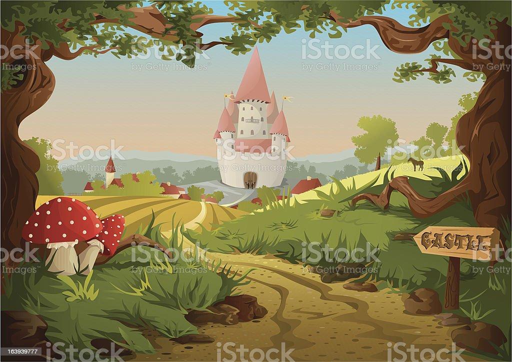 Fairy tale castle vector art illustration