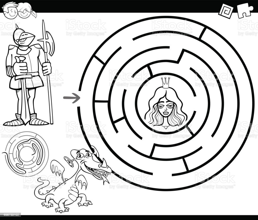 fairy tale maze coloring page stock vector art 698733102 istock