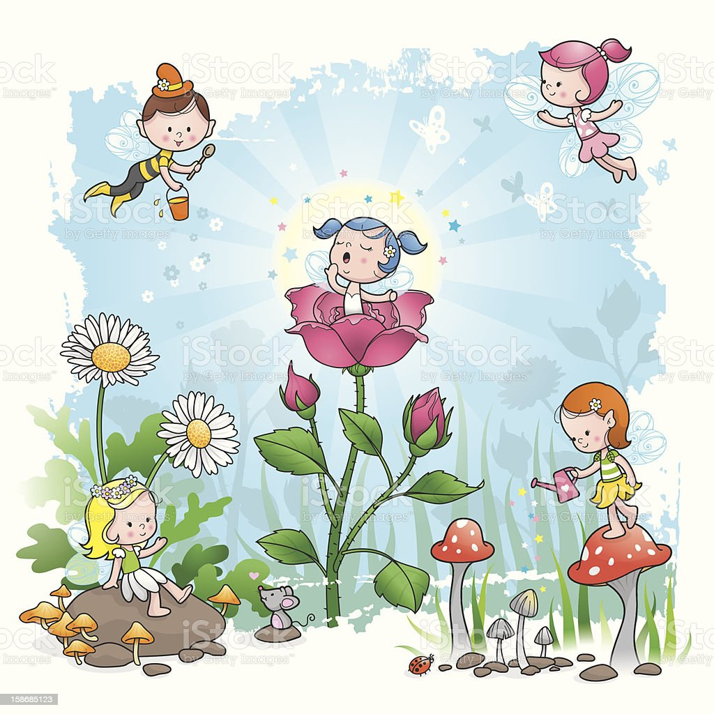 Fairy Tale morning flower elf vector art illustration