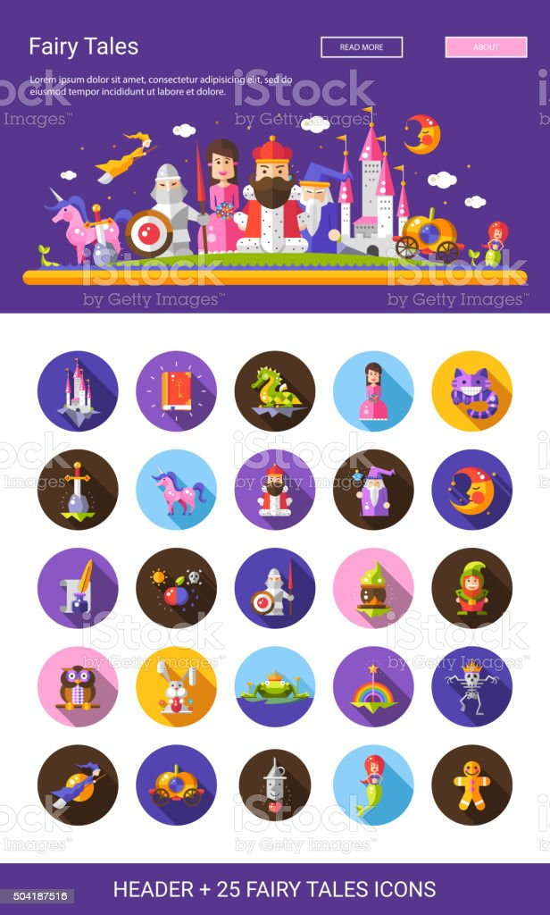 Fairy tales flat design cartoon characters icons set with header vector art illustration