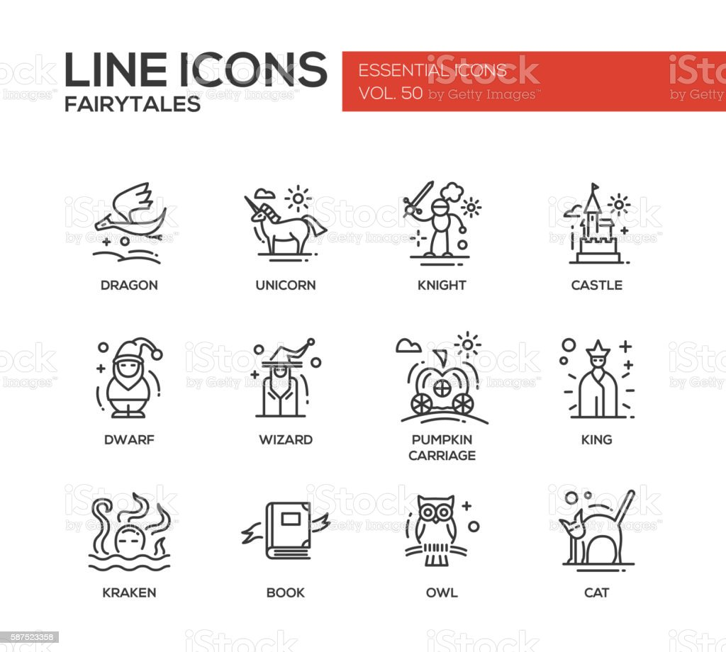 Fairy Tales- flat design line icons set vector art illustration