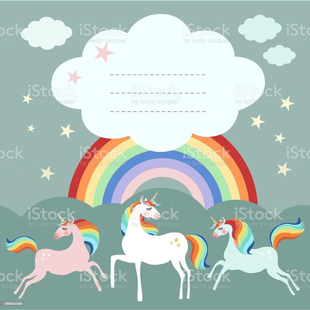 Fairy unicorn birthday party greeting card, invitation with rainbow vector art illustration