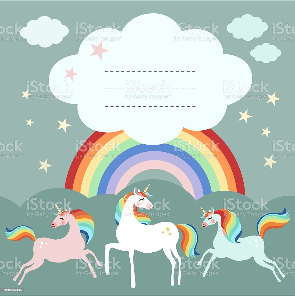 Fairy unicorn birthday party greeting card, invitation with rainbow vector art illustration
