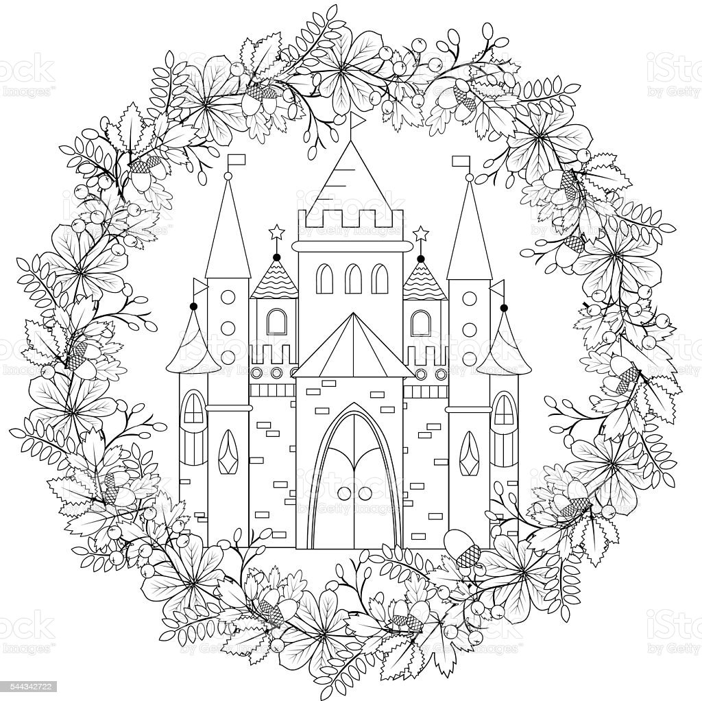 Fairyland fantasy castle in black and white, coloring page vector art illustration