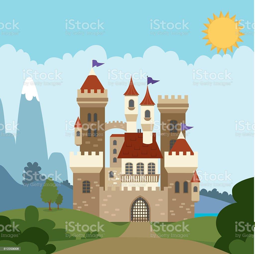 Fairytale Castle vector art illustration