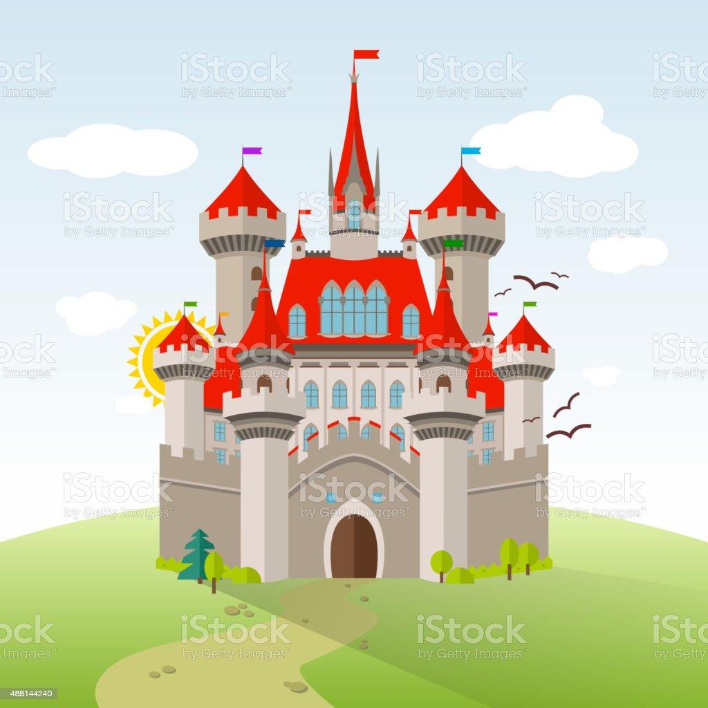 Fairy-tale Castle. Vector Imagination Child Illustration. Flat Landscape vector art illustration