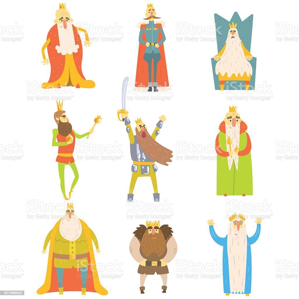 Fairy-Tale Kings Set Of Cartoon Fun Illustrations vector art illustration