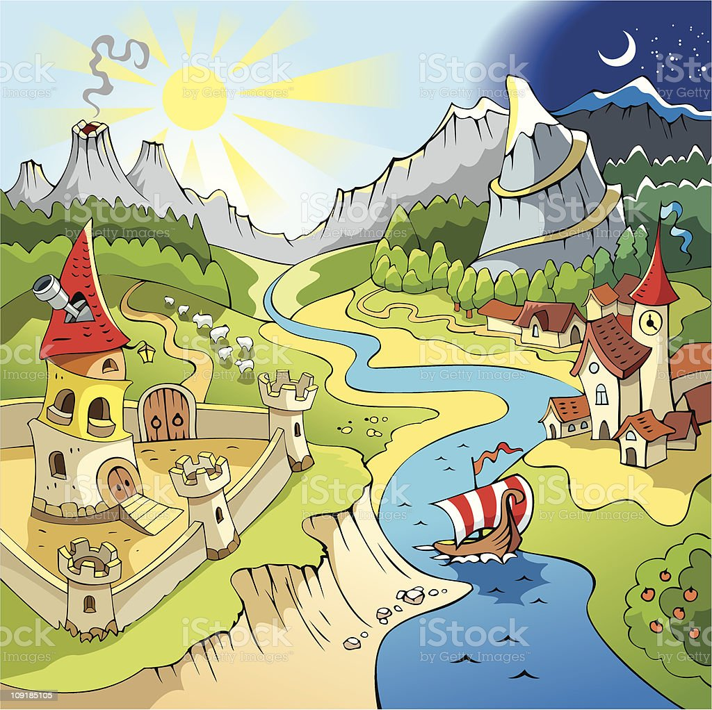Fairy-tale landscape vector art illustration