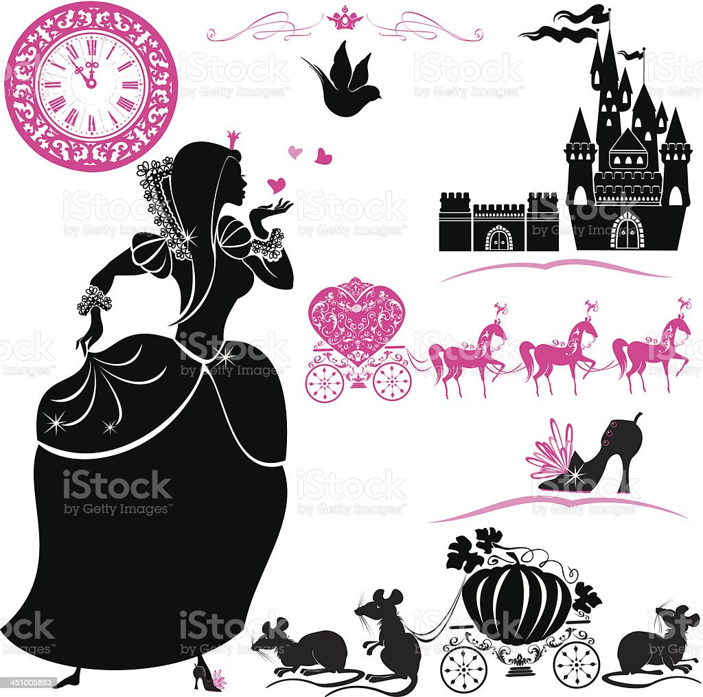 Fairytale Set - silhouettes of Cinderella, Pumpkin carriage with mouses vector art illustration