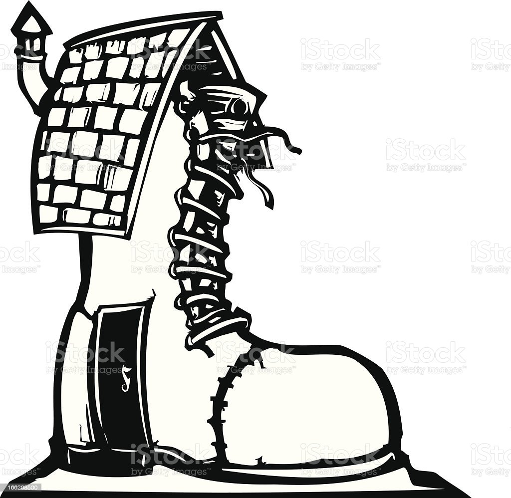 Fairytale Shoe House vector art illustration