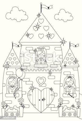 Fairytale sparkly castle and princess characters to color for Princess and castle coloring pages