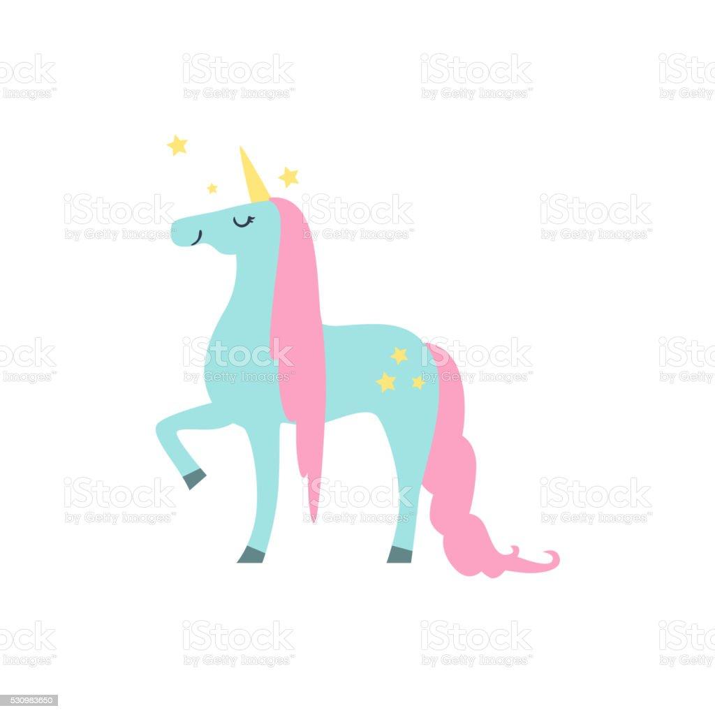 Fairytale Unicorn Drawing vector art illustration