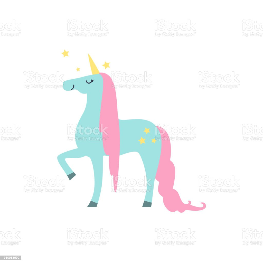 Fairytale Unicorn Drawing vector art illustration