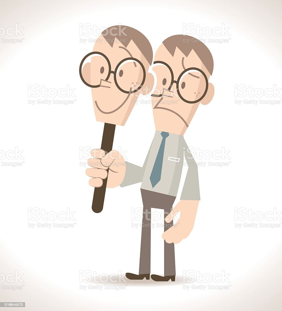 Fake businessman (politician) hide real face by holding smile mask vector art illustration