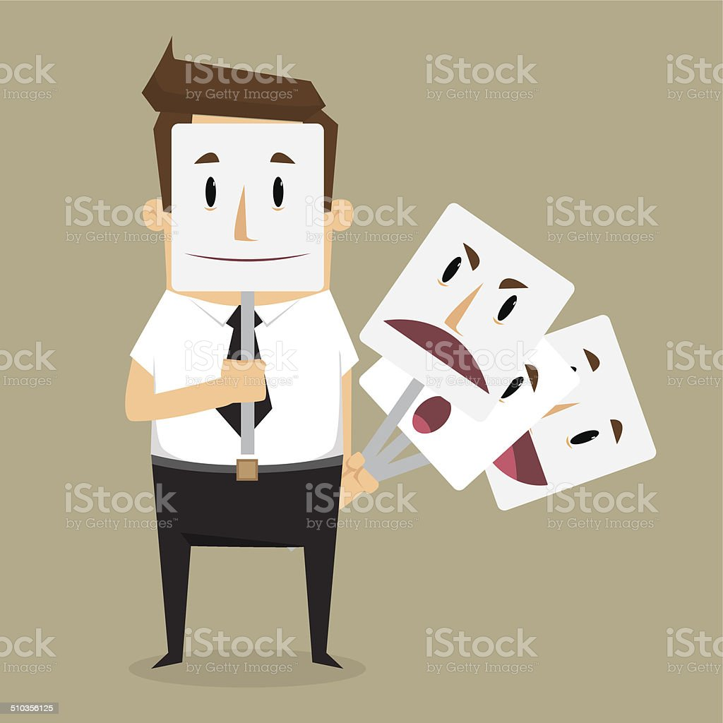 Fake businessman wearing mask smile rage cavaliers. Business con vector art illustration