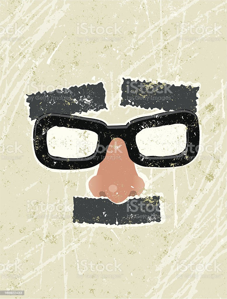 Fake, glasses, moustache and eyebrows disguise vector art illustration