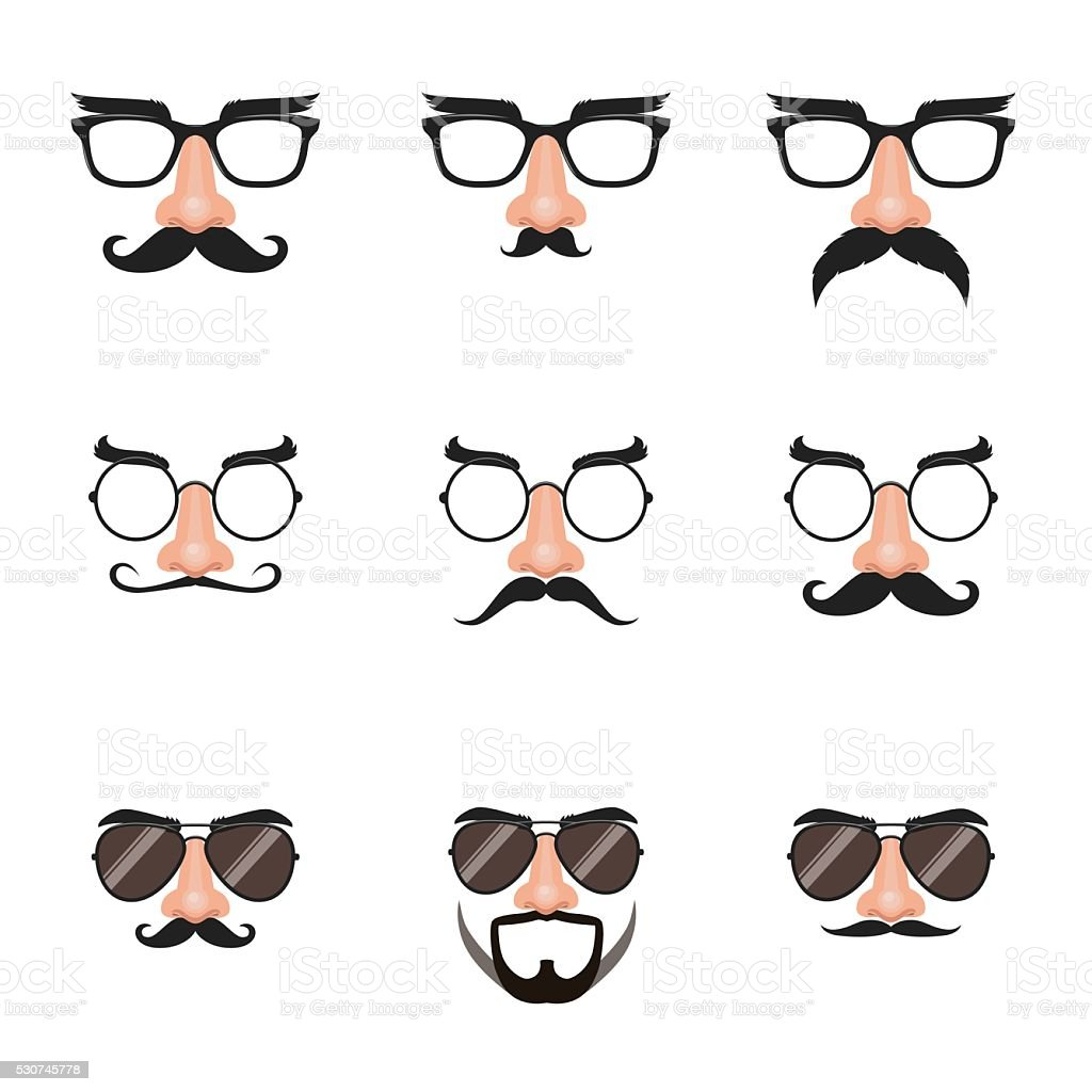 Fake Nose and Glasses Set with Mustache and Eyebrows vector art illustration