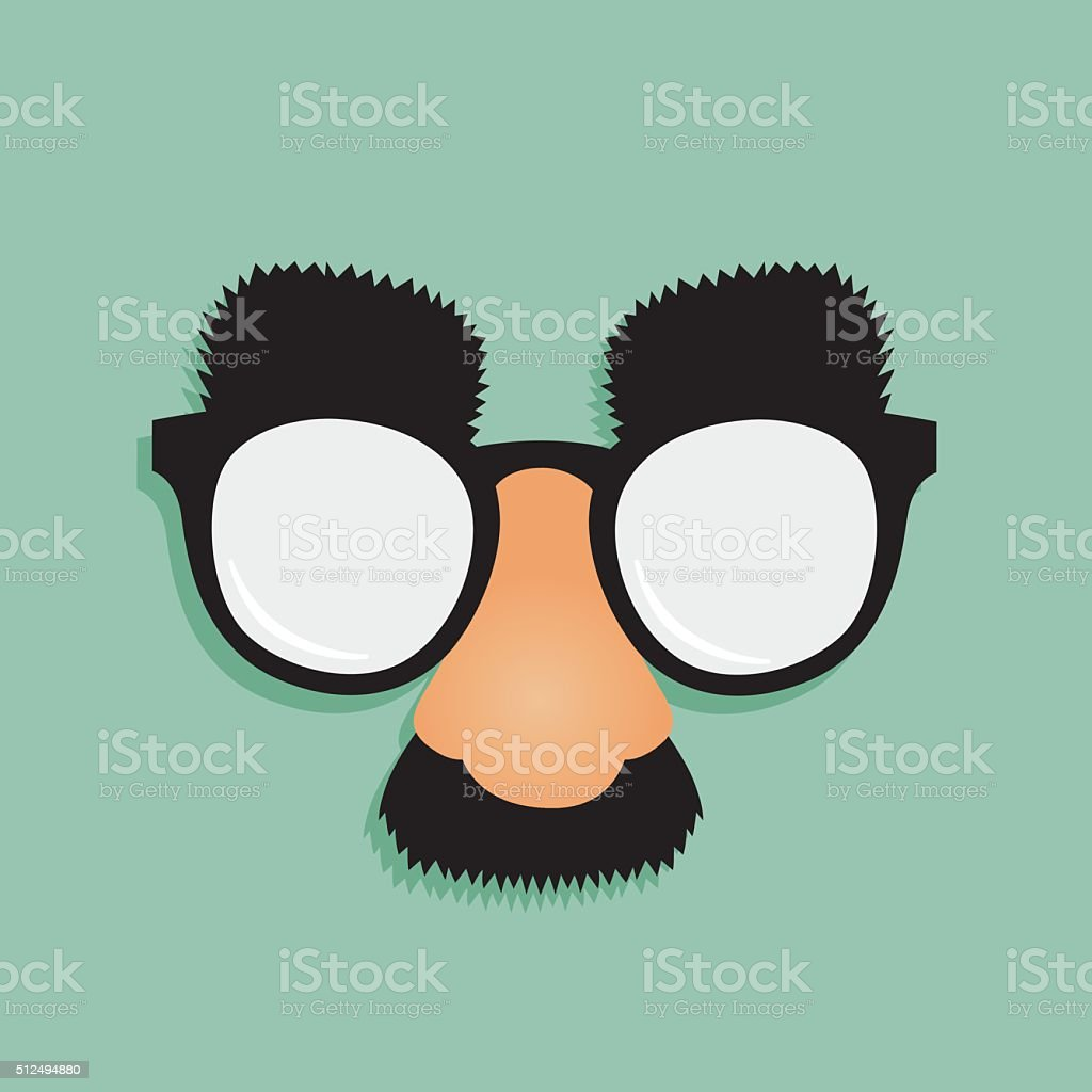 Fake Nose Mustache Glasses vector art illustration