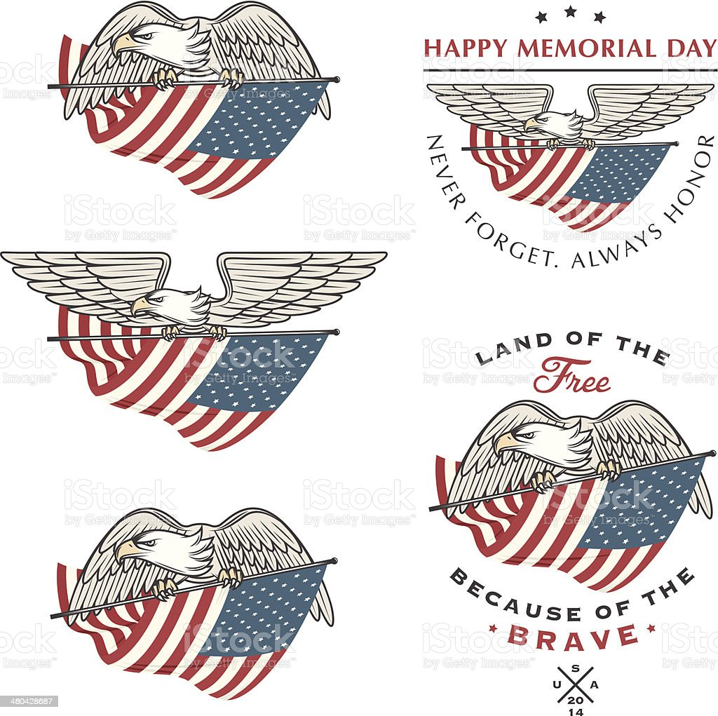 Falcon (eagle) flying with American flag vector art illustration