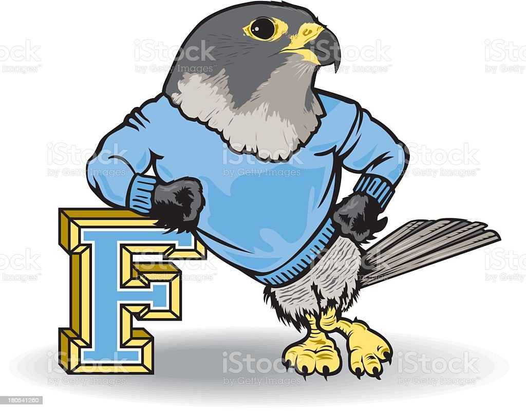 Falcon Leans On Letter F royalty-free stock vector art