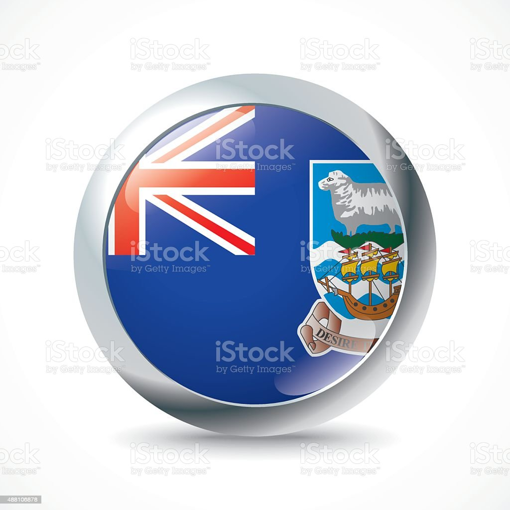 Falkland Islands flag button vector art illustration