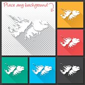 Falkland Islands Map for design, Long Shadow, Flat Design