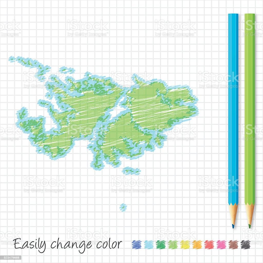 Falkland Islands map sketch with color pencils, on grid paper vector art illustration