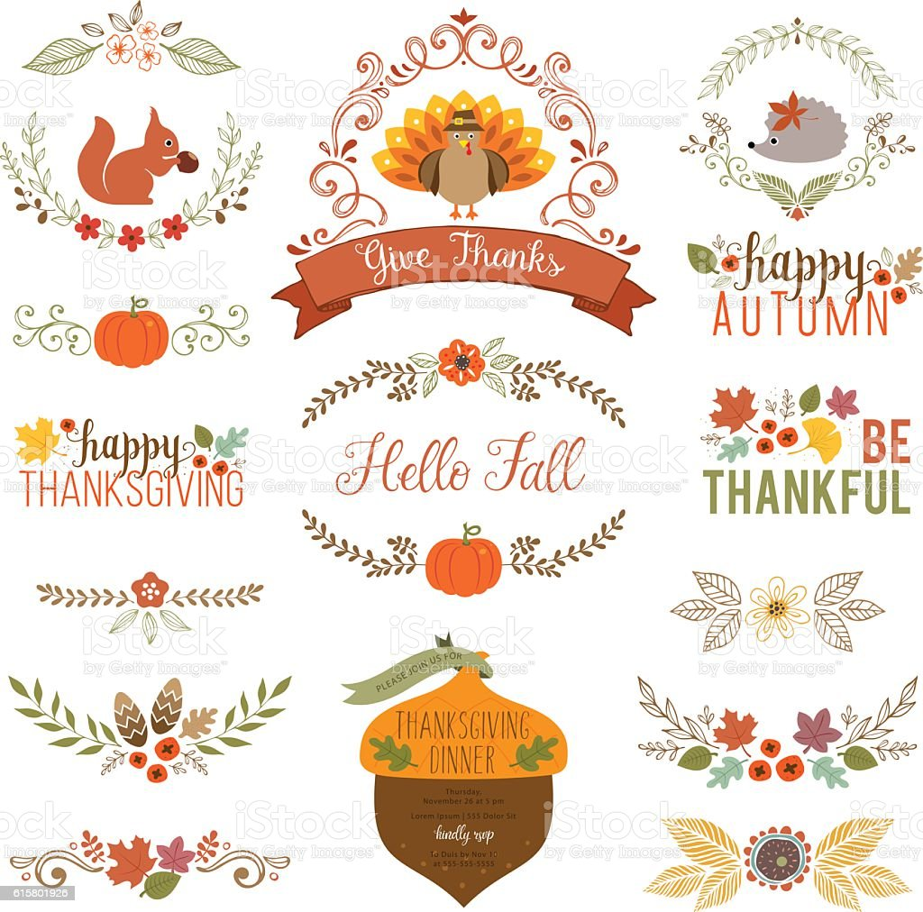 Fall and Thanksgiving set vector art illustration