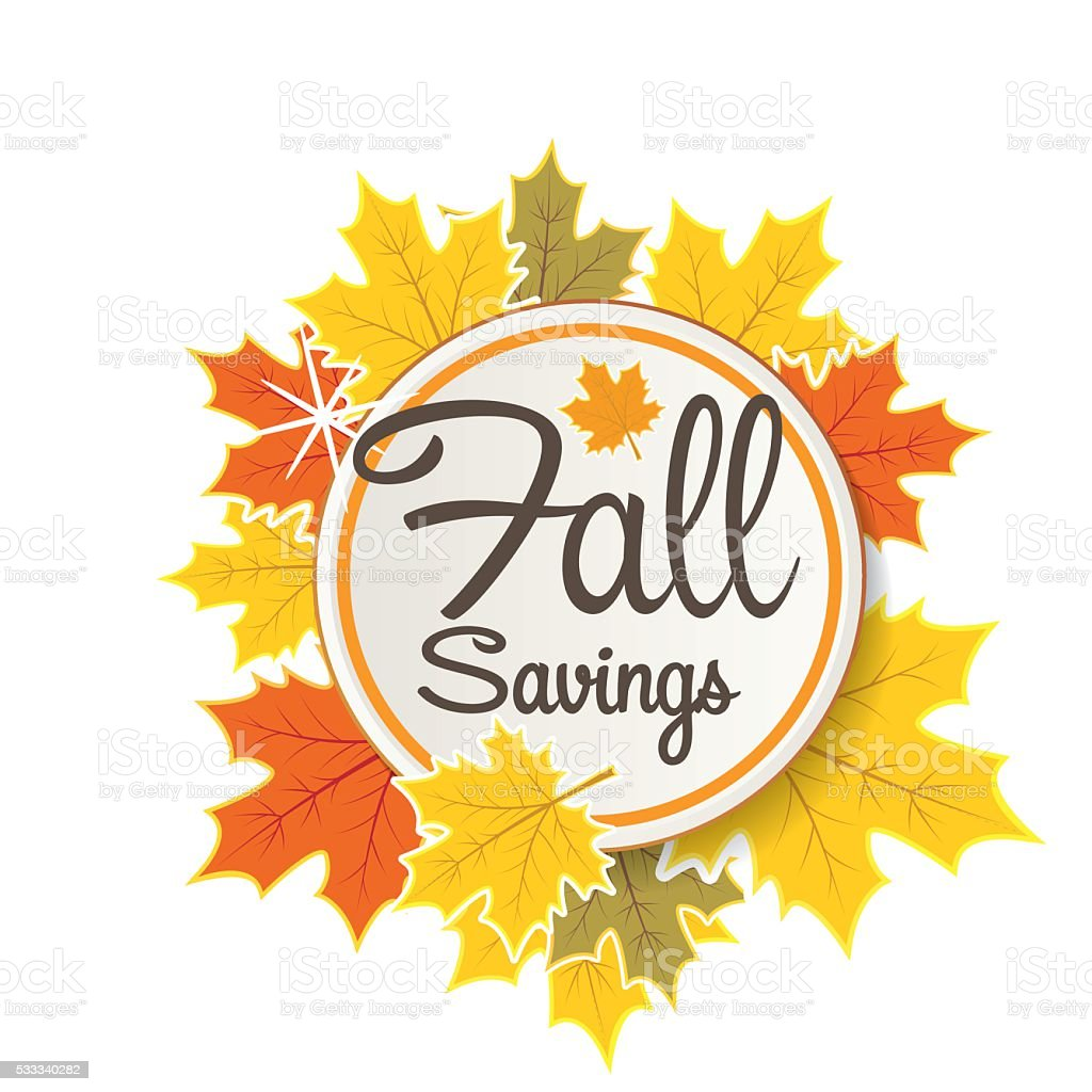 Fall Autumn Leaf Sale tag vector art illustration