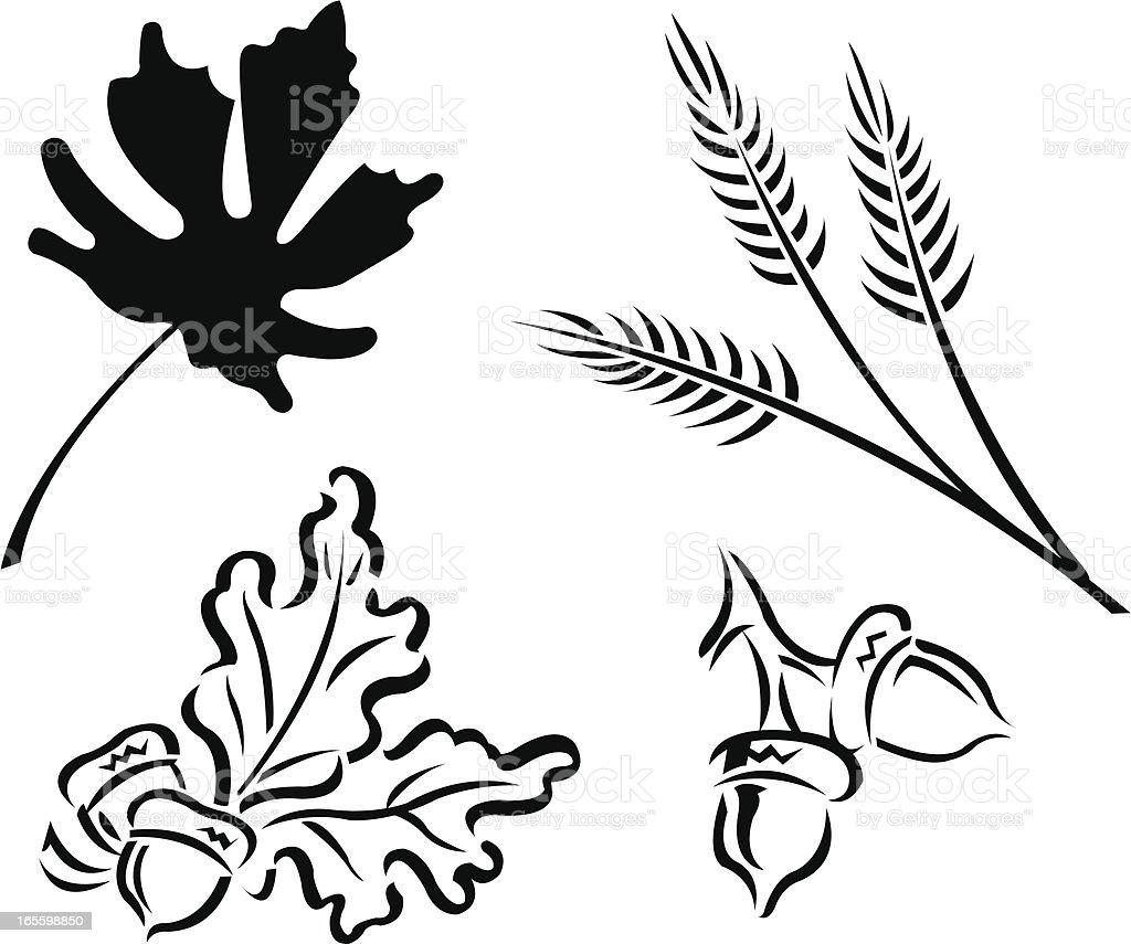 Fall Autumn Leaves, Acorns and Wheat Symbols royalty-free stock vector art