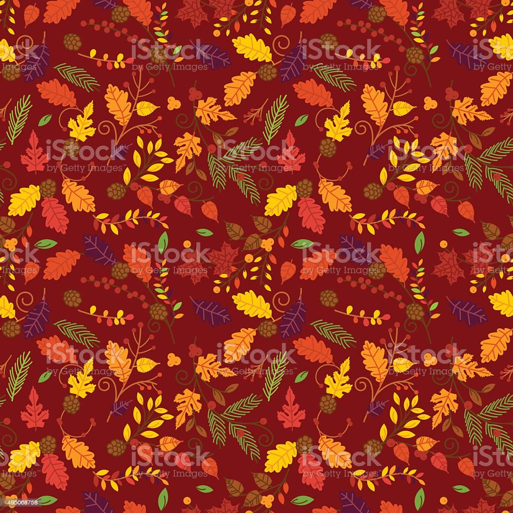 Fall, Autumn or Thanksgiving Vector Flower Pattern vector art illustration