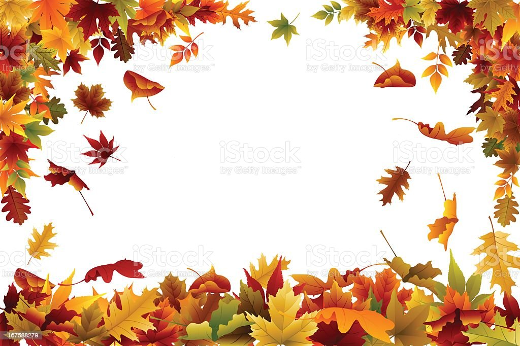 Fall background or wallpaper with multi colored leaves vector art illustration
