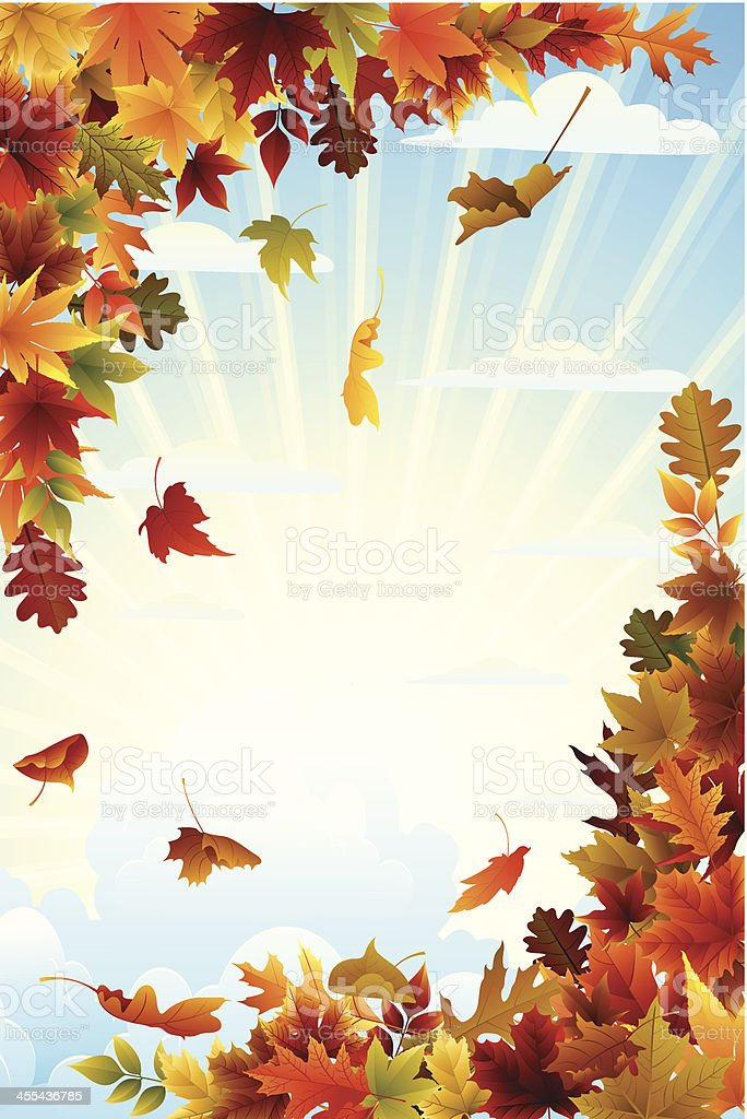 Fall Background With Clouds royalty-free stock vector art