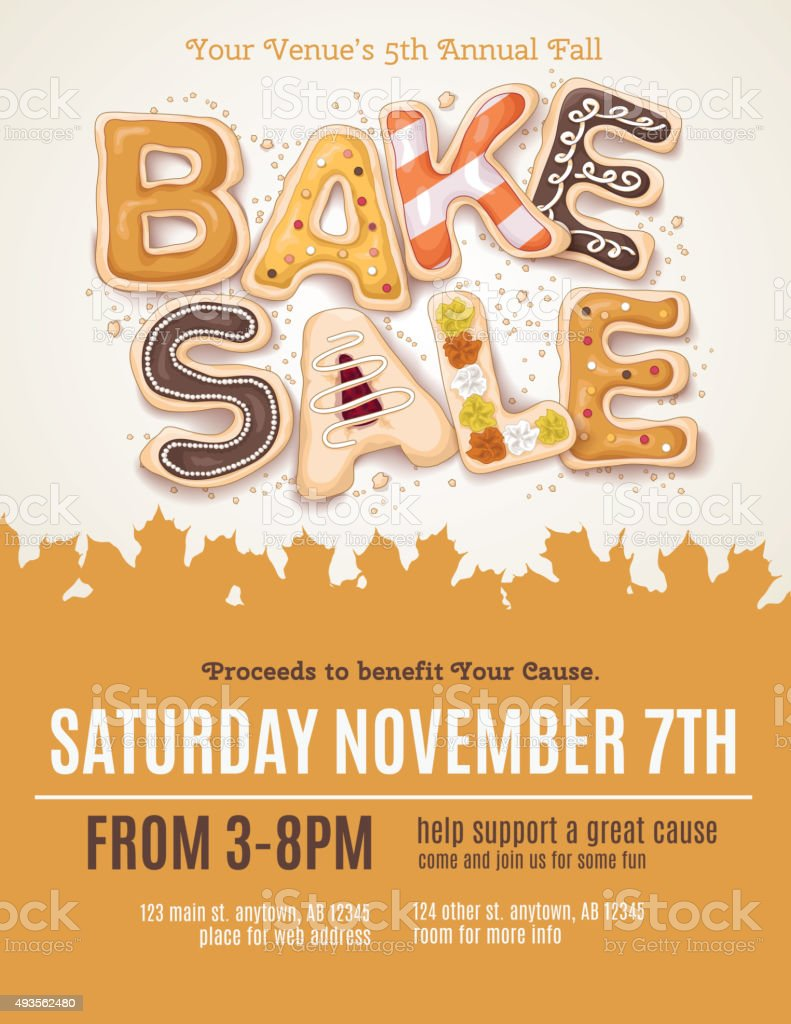 Fall Bake Sale Flyer vector art illustration