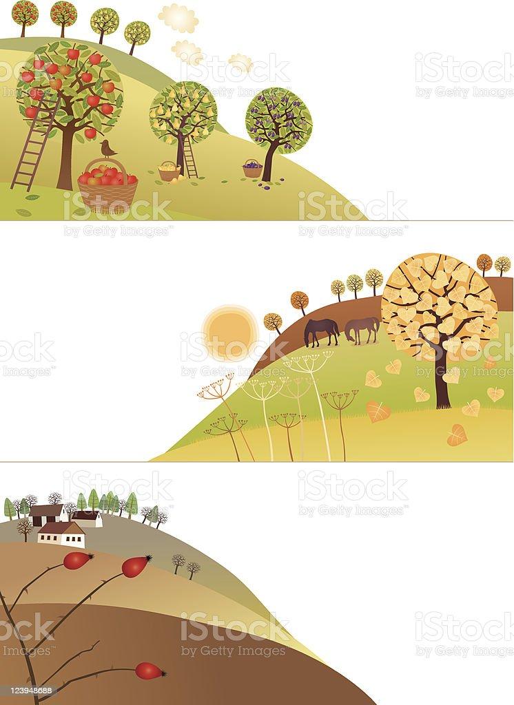 Fall corners royalty-free stock vector art