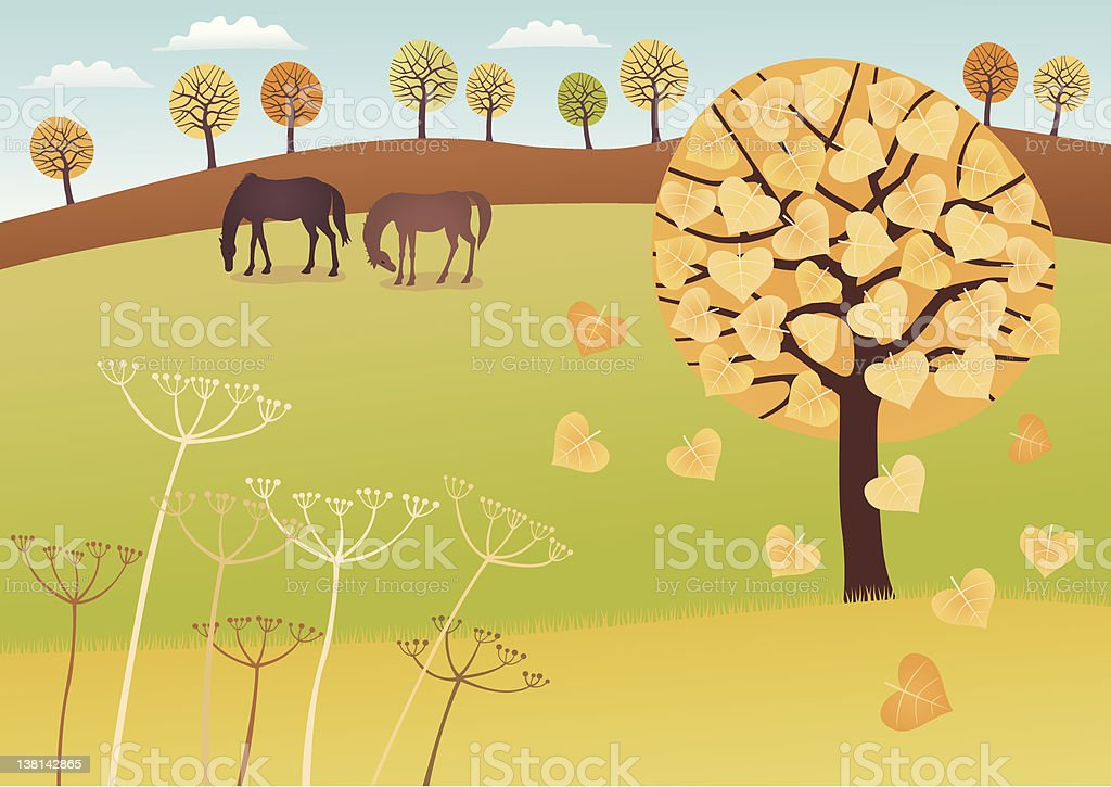 Fall countryside royalty-free stock vector art