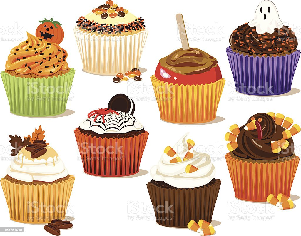 Fall Cupcakes vector art illustration