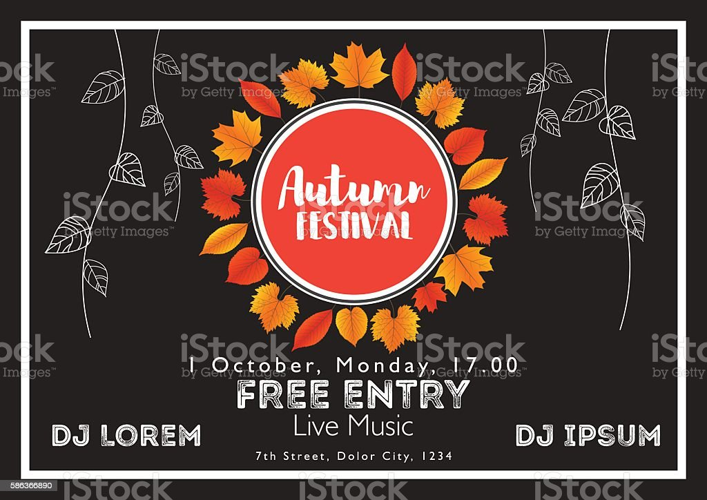 Fall Festival template. Bright colourful autumn leaves on horizontal background. vector art illustration