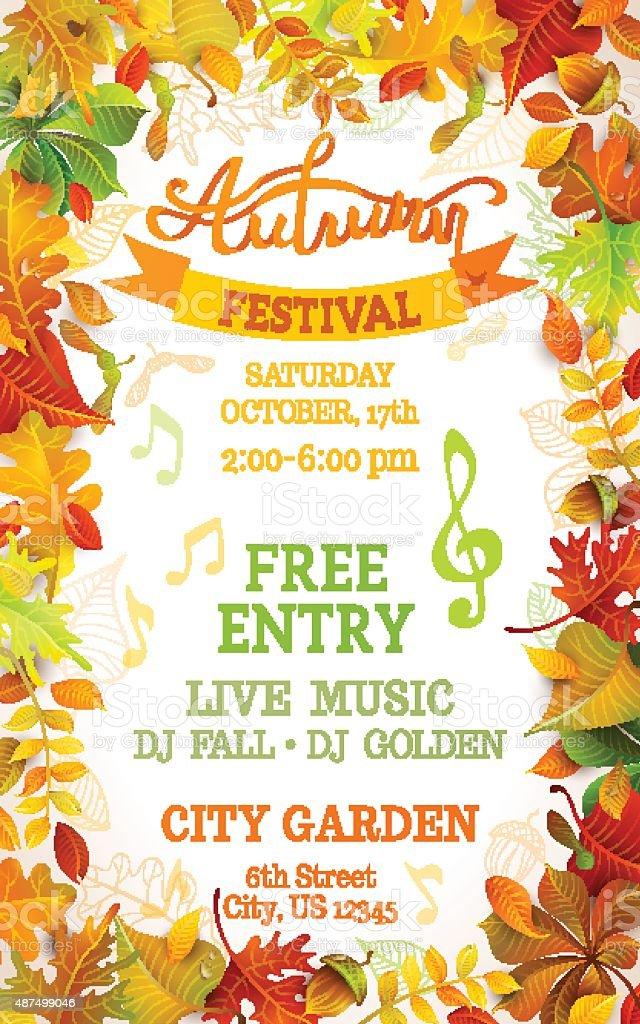 Fall Festival template. vector art illustration