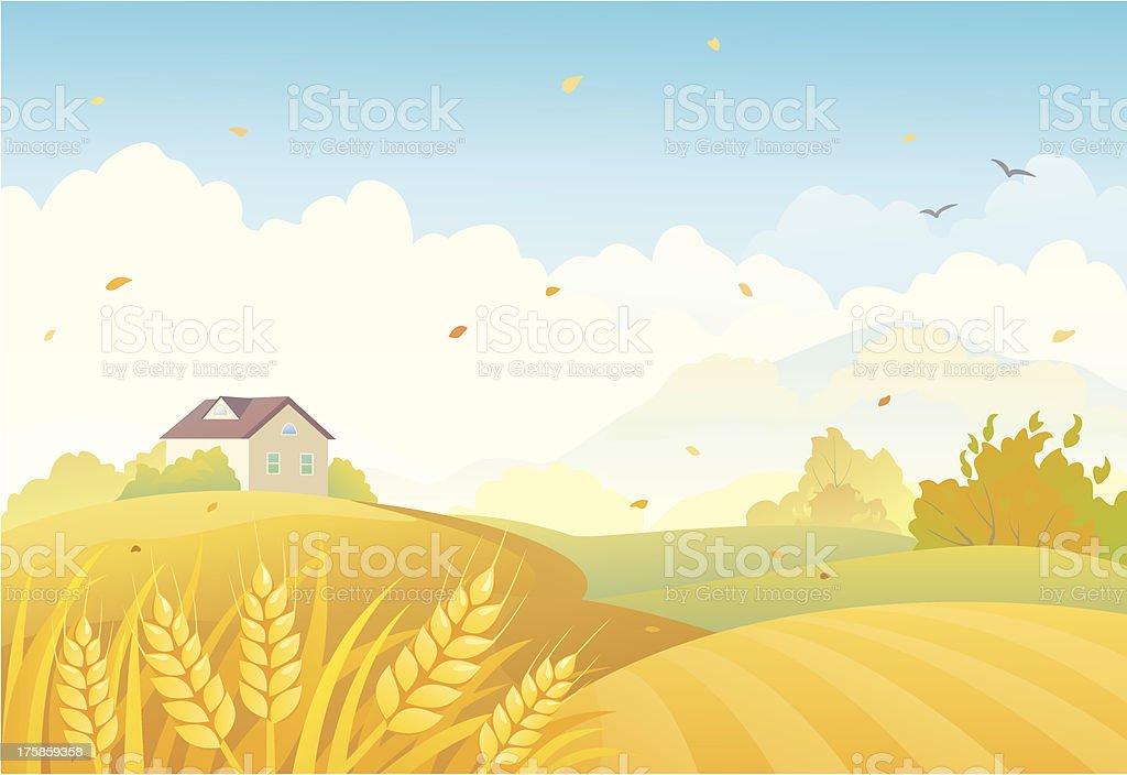 Fall fields vector art illustration